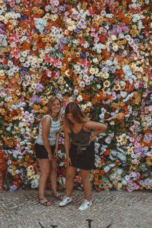 Instagrammable spot: flower wall in Lisbon, Portugal