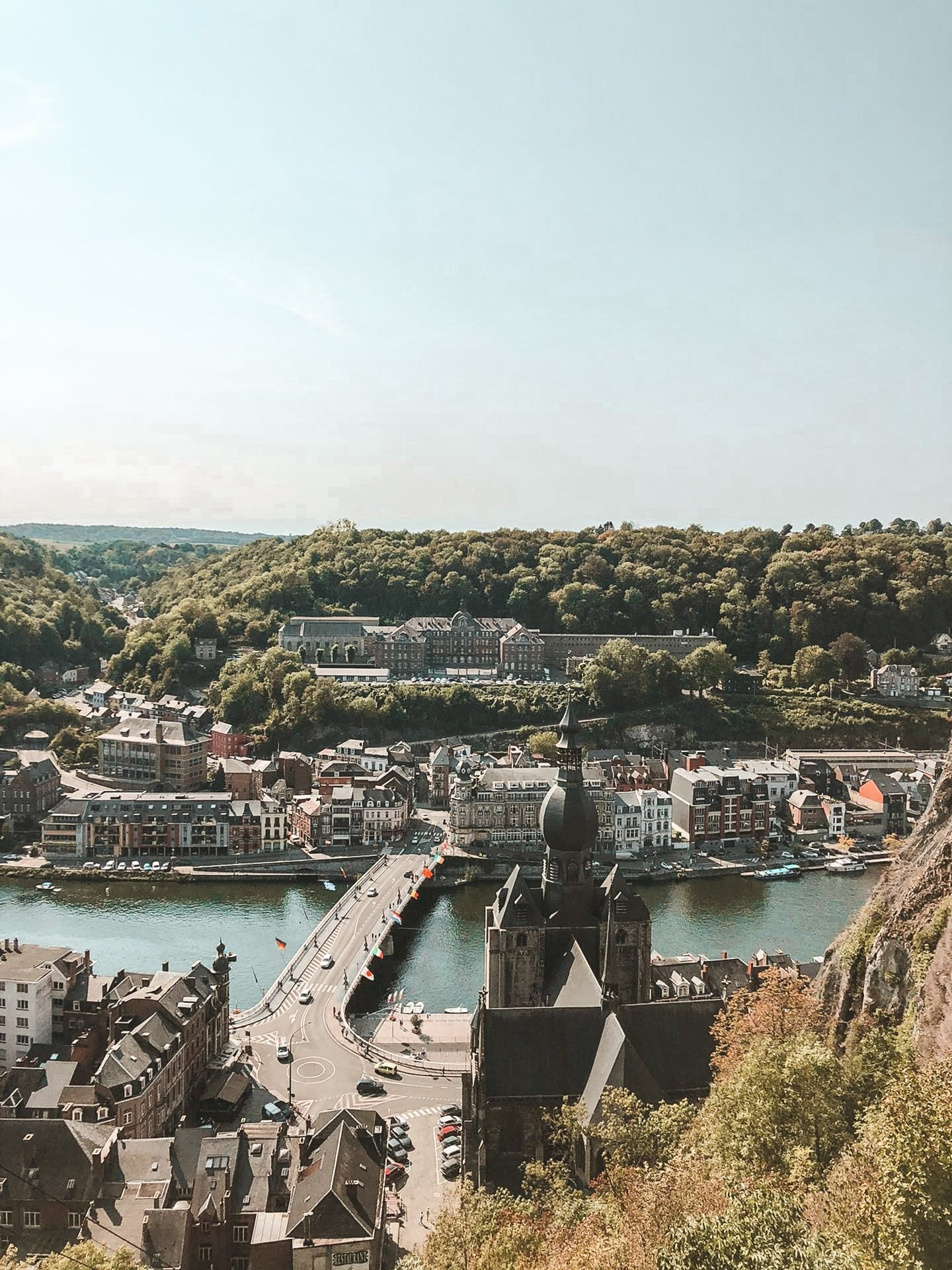 Panoramic view of Dinant and the Meuse River